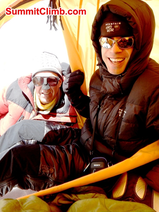 Dan and Magnus in Camp 2. Mike Fairman Photo