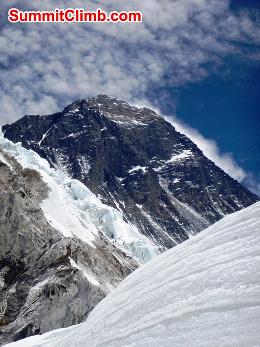 Everest Summit seen from the Western Cwm on a windy day. Mike Fairman Photo