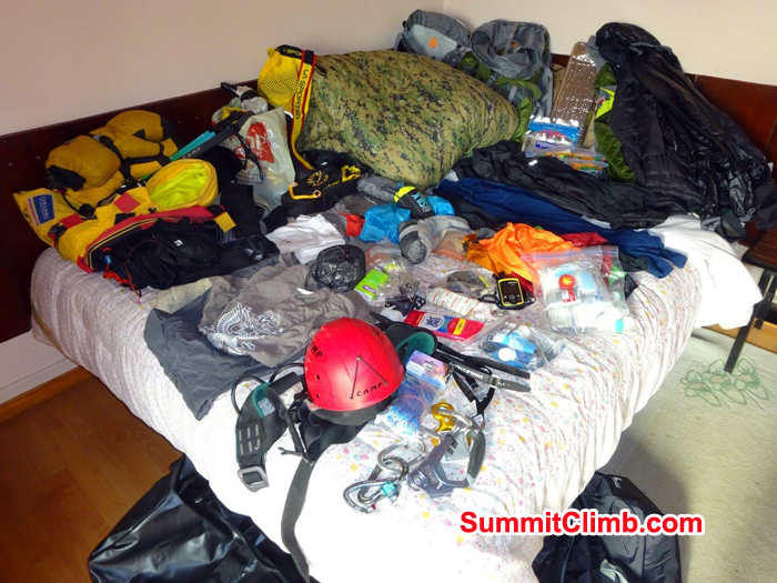 Everest expedition climbing equipment for equipment check at hotel. Photo Jeff Sorrel