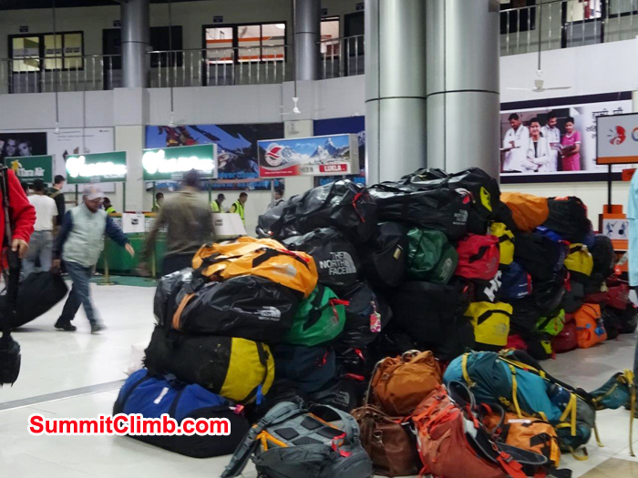 Everest expedition duffle bags ready to transfer from Kathmandu Domastic airport to Lukla Airport. Photo Jeff Sorrel