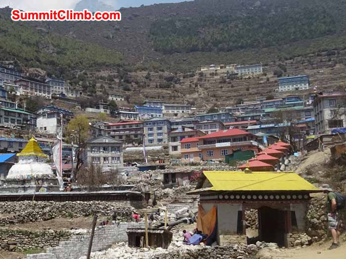 George checks out Namche Bazaar on our arrival. James Grieve Photo