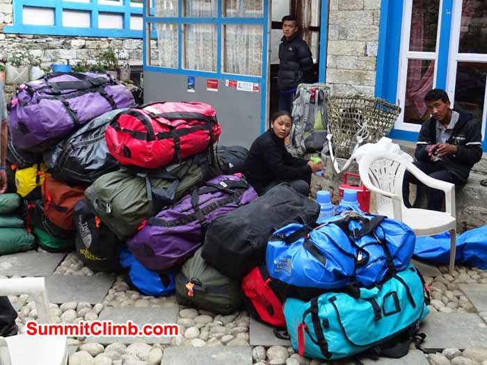 Getting ready for the second days trek to Base camp leaving from the green village lodge. photograph by James Grieve