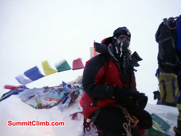 Hubert Klaus at the summit of Everest from North side. Photo Hubert Klaus