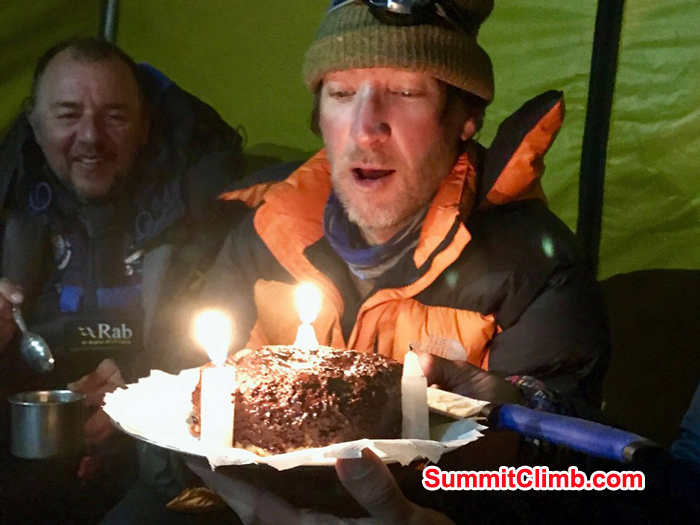 I'm amazed the Sherpa cook could make a cake rise at 6500m. You can see the impact of the daily wear and tear on my face.