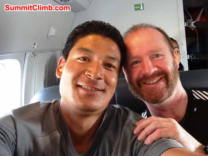 James Grieve and Lakpa Sherpa On the flight from Kathmandu to Lukla - photo by James