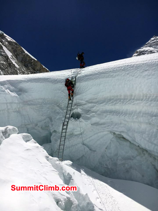 Ladder section at Khumbu Icefall