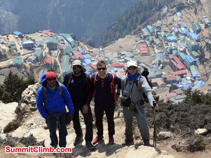 Members and Namche at arial view
