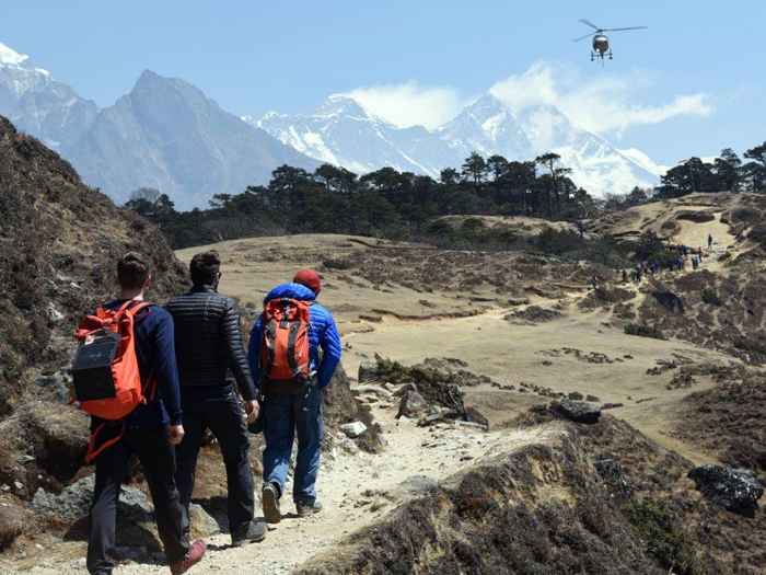 Members at Sangboche, front view Mount Everest.