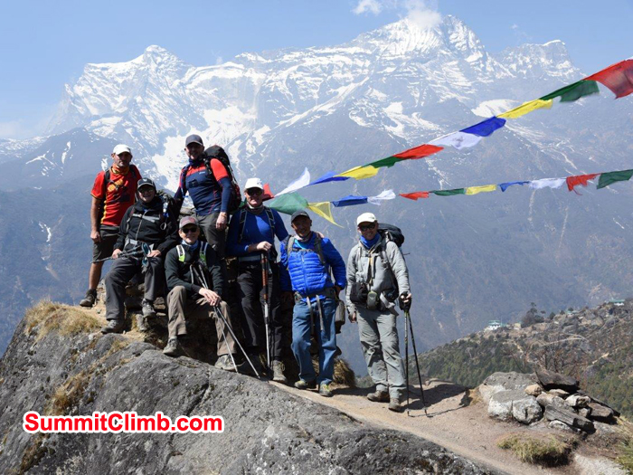 Members hiking around in Namche.