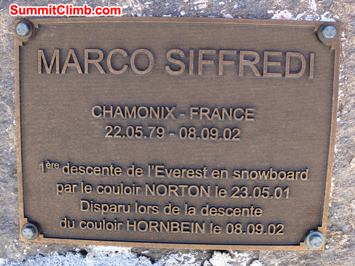 Memorial to Marco Siffredi in base camp