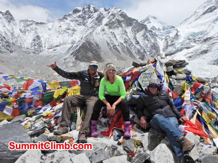 Mike, Paula, and Dan at the trekkers rock in basecamp. Photo by unknown trekker.