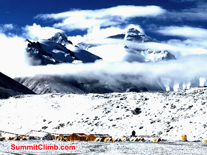 Mount Everest cover with cloud seen from basecamp