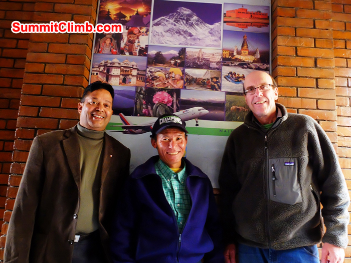 Murari,, Jangbu, and Dan at Nepal Mountaineering Department