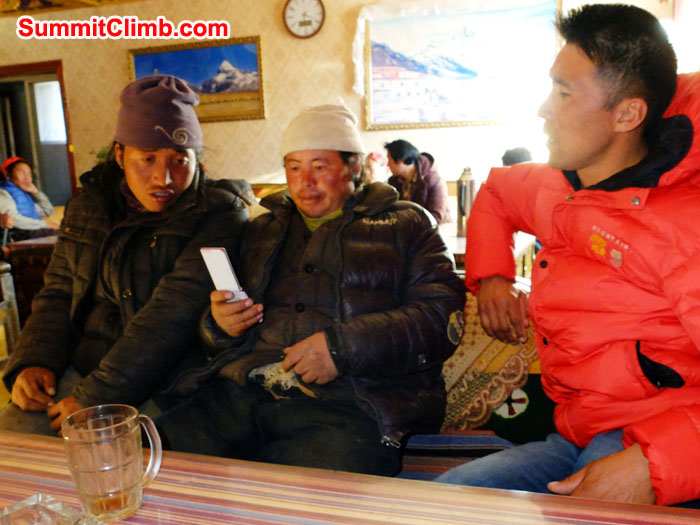 Norbu, Chewang, and Tenji discuss plans for 2016 Everest Base Camp logistics