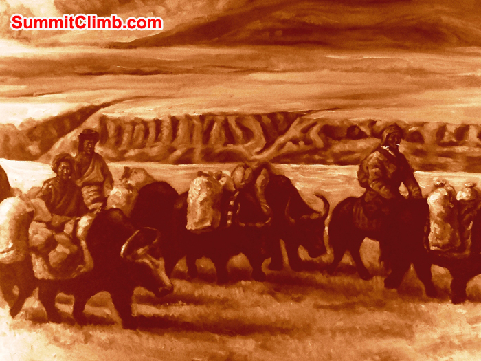 Oil painting of Tibetan nomad family crossing the Tibetan plateau by yak train