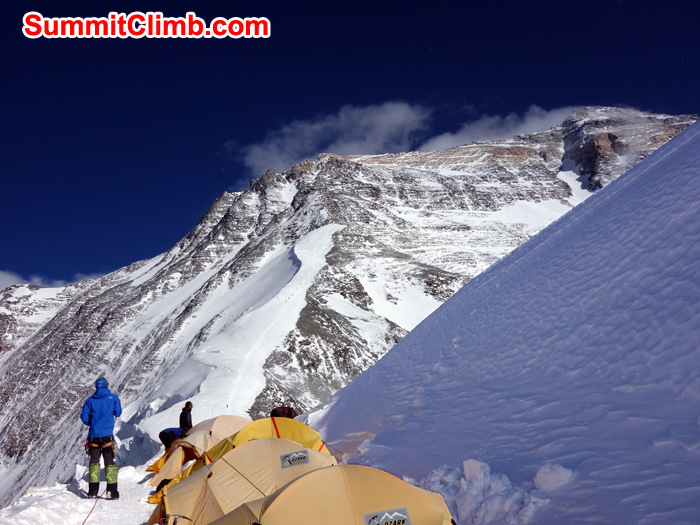 Our tents at the North Col at 7000 metres-23,000 feet, also known as camp 1. Photo David O Brien