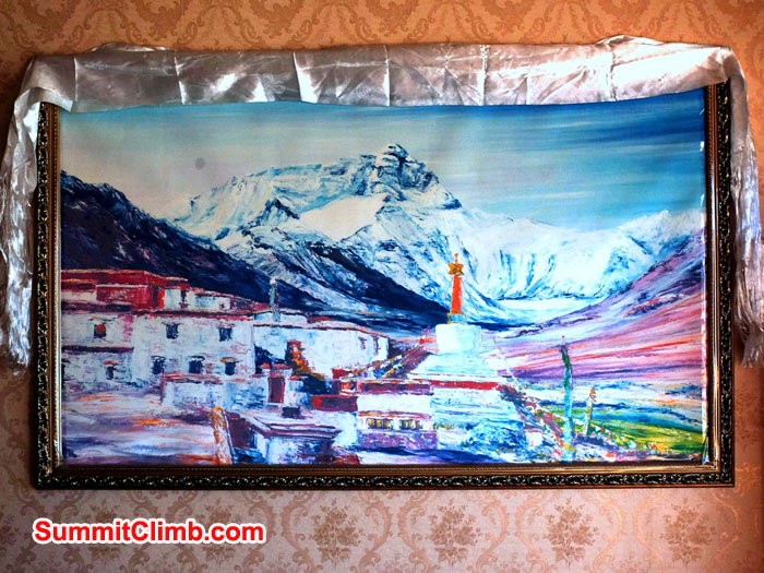 Painting of Everest and Rongbuk Monastery on the wall in Ha Hoo Hotel Tingri