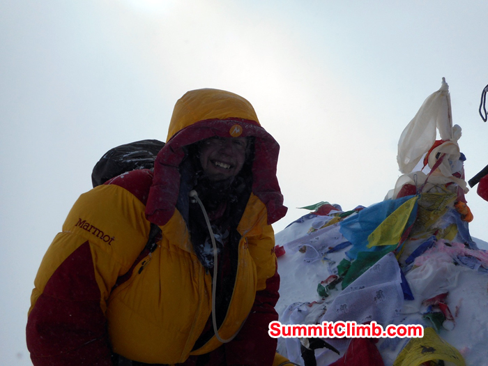 Peter Whitfield at the summit of Everest. Photo Peter Whitfield