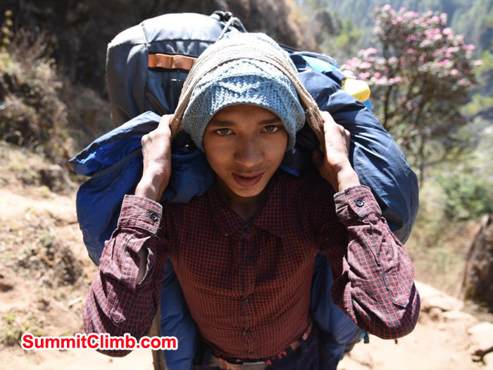 Porters carrying loads to namche bazaar