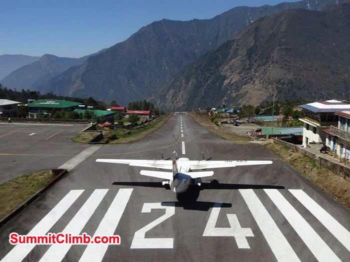 Small plane ready to take off from Lukla airport. Photo Jeff Sorrel