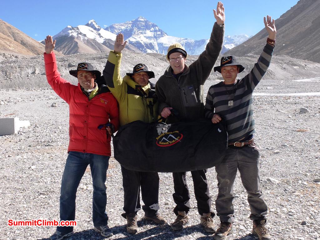 SummitClimb team in Everest Tibet Basecamp - Tenji Sherpa, Murari Sharma, Dan Mazur, and Dorje Lama