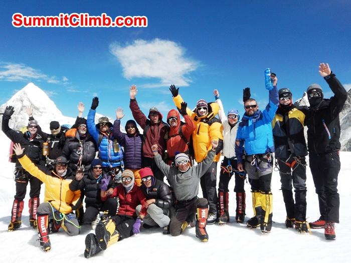 SummitClimb Team Photo in Everest camp 1. Mount Pumori in background. Mike Fairman Photo