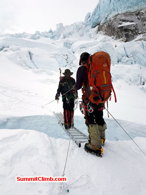 Team member crossing the famous khumbu Icefall.
