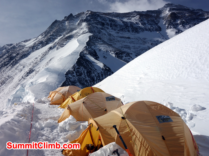 Tents are on the Northcol with the view of summit. Photo David Roeske.