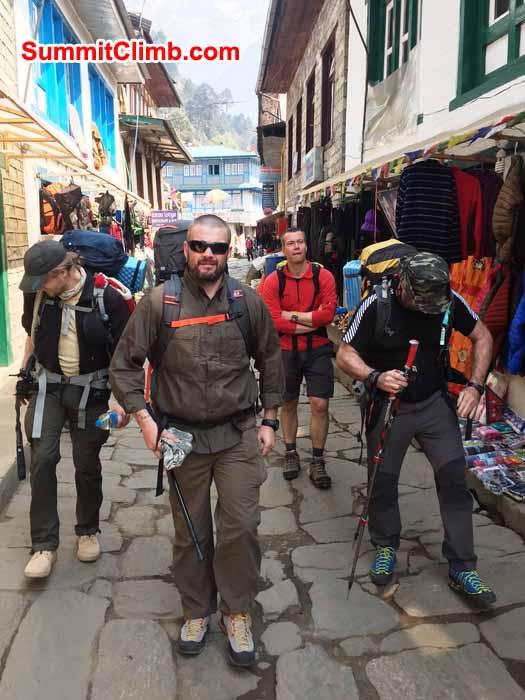 Tony, Les, Jonas, and James on the streets of Lukla. Gary Ervin Photo