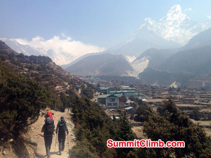 Trekking and hiking inside Everest Region near Pangboche