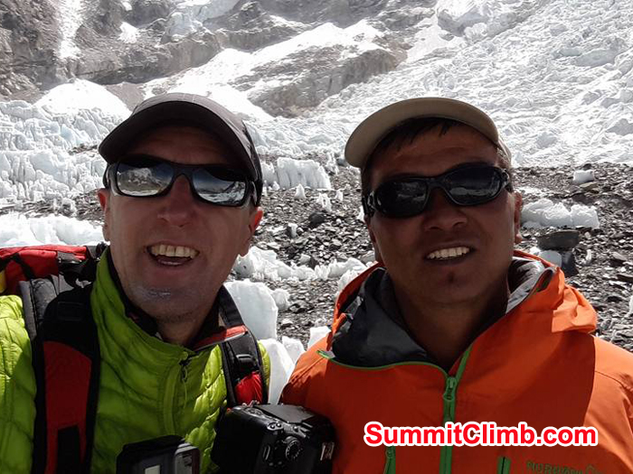 Wolf and Ngang sherpa at basecamp