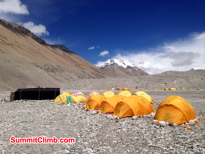 Photo David O' Brien base camp with the wind blowing off Everest