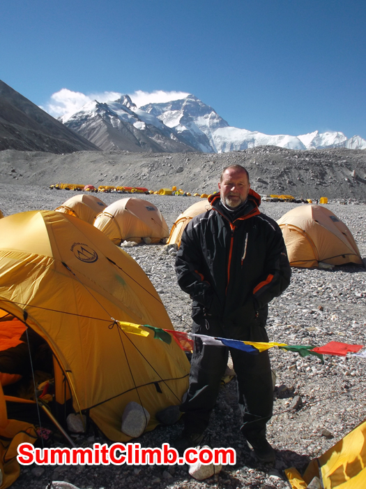Steve at Chinese Basecamp. Photo Steven Greenhalgh