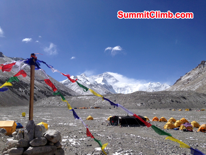 our Puja cairn with our camp and Everest in the distance