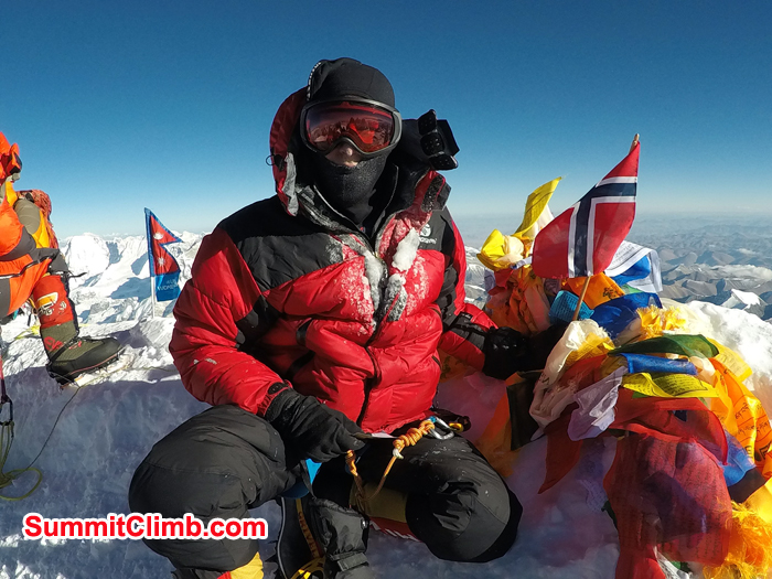 steinar salte at the summit of Everest