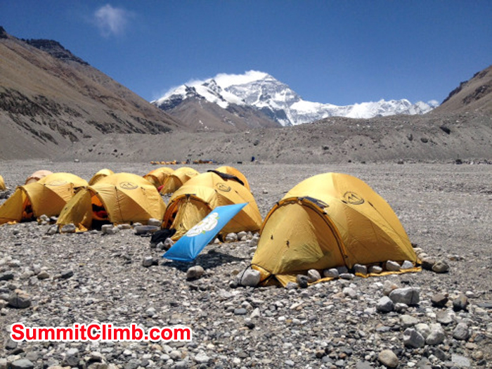 The mountain had been covered by clouds for a while, but finally got a good shot of our camp, and the Everest in the background