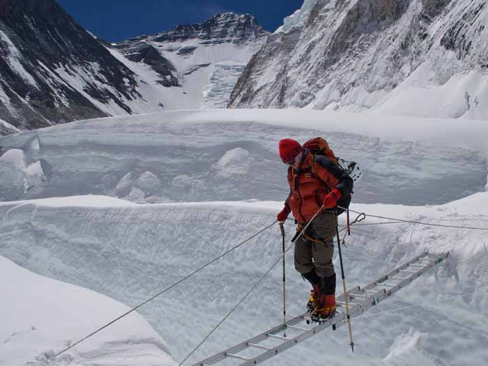 A tent on the South Col. Mounts Pumori and Cho Oyu in the background. Monika Witkowska Photo.