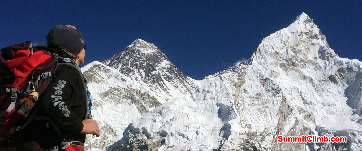 View of Mount Everest, Lhotse, and AmaDablam during our Everest Trek. Photo Niel