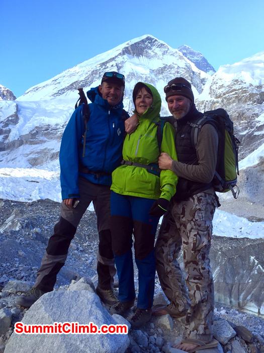 Gordon, Catherine  and Neil taking photos near Everest Basecamp.  Photo Neil