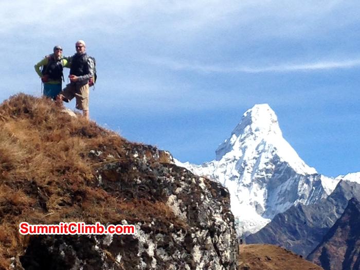 Neil Baxter and Areil Anderson enjoying trek of Everest Basecamp Trek background Mount AmaDablam . Photo Gordon