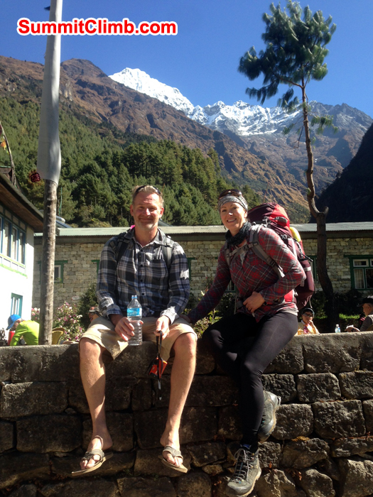 Neil Baxter and Areil Anderson relaxing on the way to Everest Basecamp Trek. Photo Gordon
