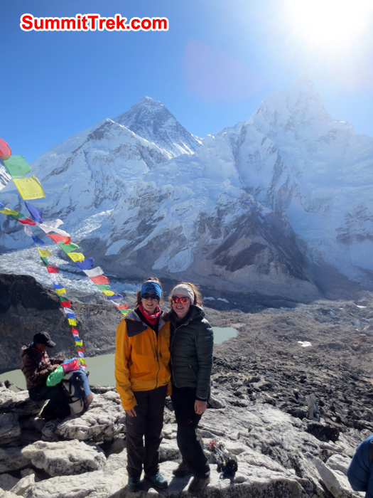 Nicole and Dana at the Kalapather with the view of Everest Background