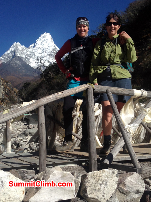 One of the small bridge during our Everest Basecamp Trek. Areil and Catherine. Photo Gordon