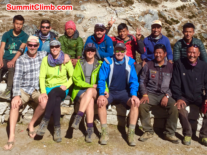 Team members and Sherpa for our Everest Glacier School and Everest Basecamp Trek. Photo Neil