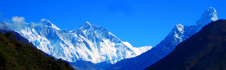 Wonderful view of Himalayas Everest, Lhotse, and Amadablam