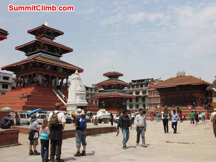 Tourists walking around at Kathmandu Darbar Square. Photo Linda.