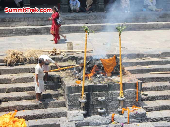 Cremation of human body at Arya Gath inside Pasupati Nath, one of the biggest Hindu temple in Kathmandu.