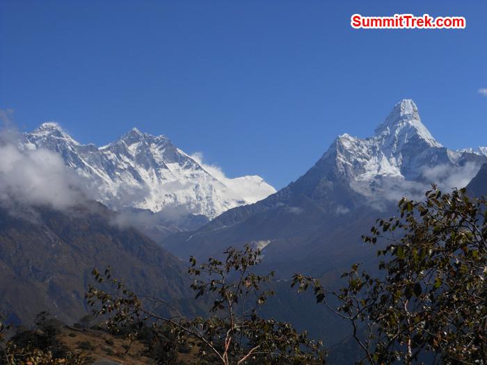 Himalaya range, Everest, Lhotse, AmaDablam. Photo by Tenji Sherpa
