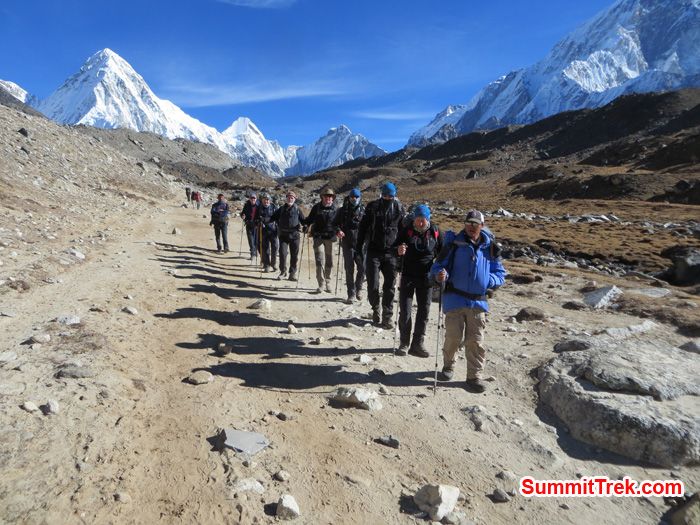 Our Island Peak group walking toward to Lobuche. Photo by Daniel Haraburda Joseph.