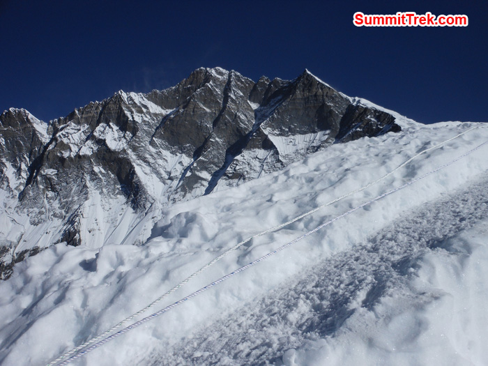 View of Lhotse Shar from Island Peak. Photo by Tenji Sherpa